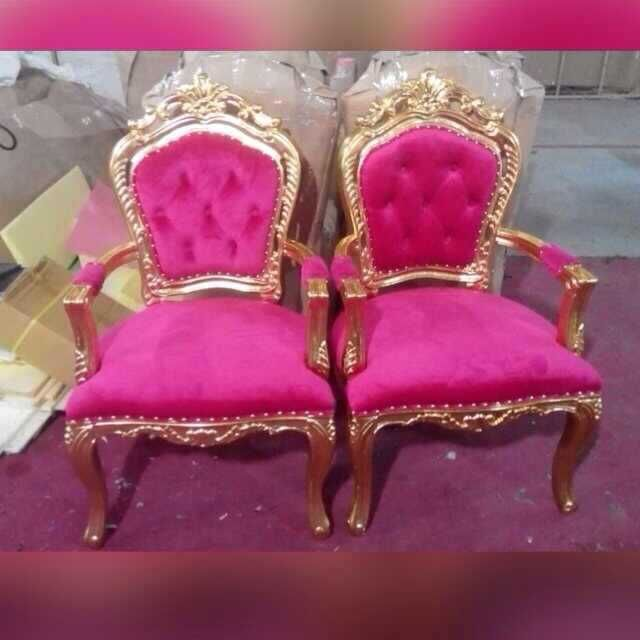 Carved Wooden Leather Fabric King Queen Royal Chairs For Wedding Jc ...