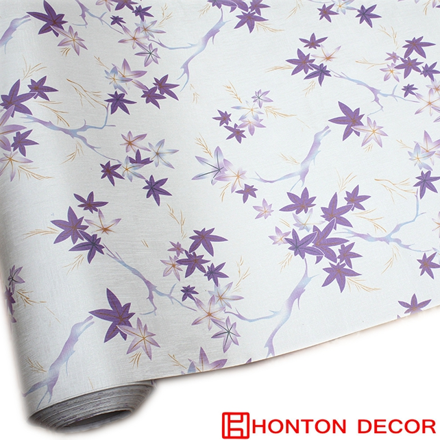 Waterproof natural 3d btl purple maple leaf pvc wallpaper roll gm klang OEM price