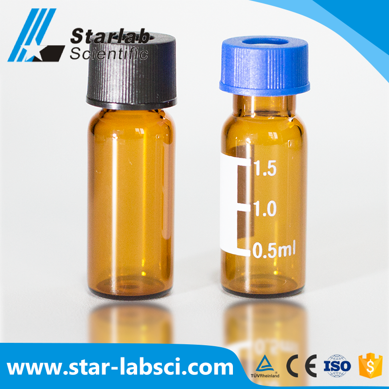 hplc 2ml chromatographic empty amber glass vial