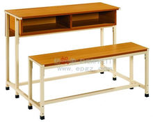 wood double student desk and chair,bench chair with table for school classroom furniture,