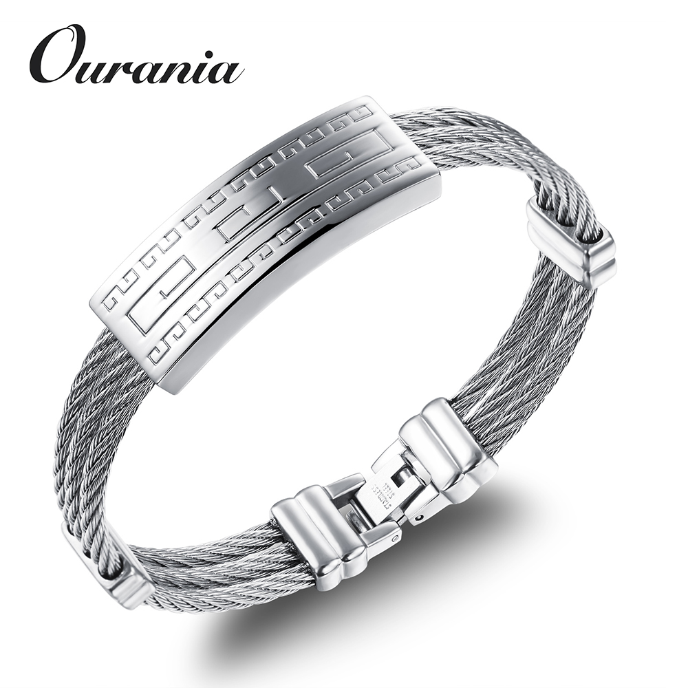 New Design Mens Jewelry Stainless Steel Cable Wire Bracelet with Engraved Metal Plate