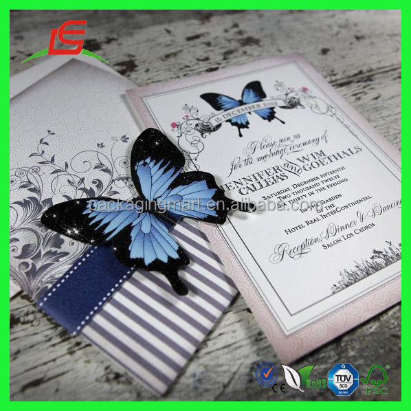 Zt330 Lovely In Blue Unique Design Butterfly Wedding Invitation – Butterfly Wedding Invite