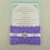2016 Rosette Lace Pocket Wedding Invitation Invitation
