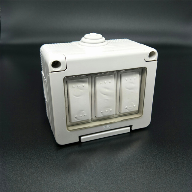 Ip55 10a Switches Waterproof Wall Switch 3 Gang 2 Way