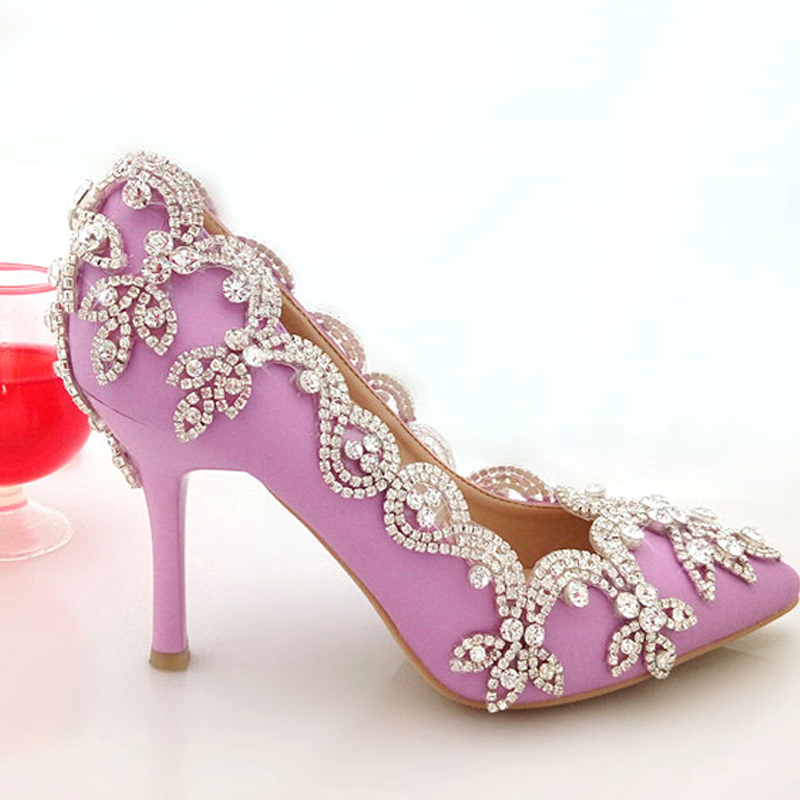 Get Quotations · 2015 Glamorous Popular Purple White Wedding Shoes Bridal  Party Shoes with Rhinestone Pointed Toe Three Inch 1c3d548f8d19