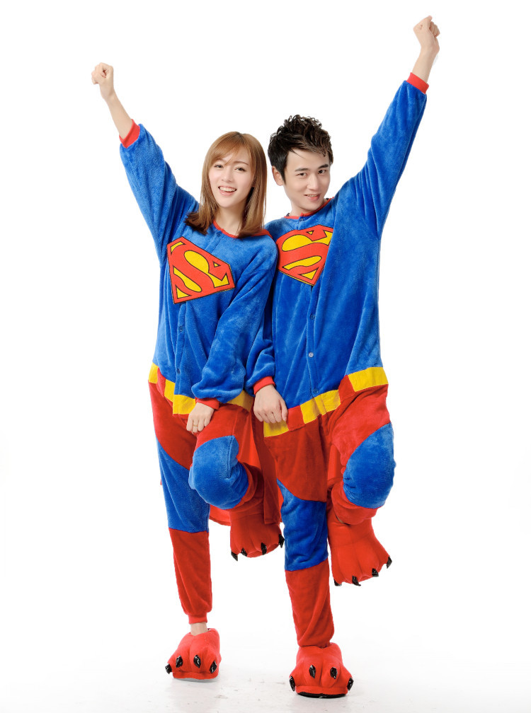 Get Quotations · 2016 Flannel Superman Adult Costume Onesies Pajamas  Jumpsuit Hoodies Adults Cosplay Costumes f5208f20b