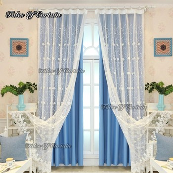 Tales Of Curtain Factory In China Sky Blue Design Door Decorative Curtains