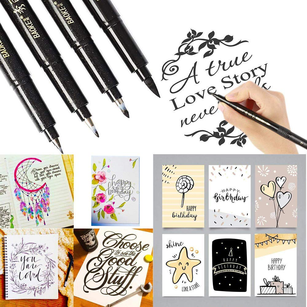 Euone Pens Clearance , 4 Sizes Ink Calligraphy Pen Hand Lettering Pens Brush Markers Drawing Art Marker