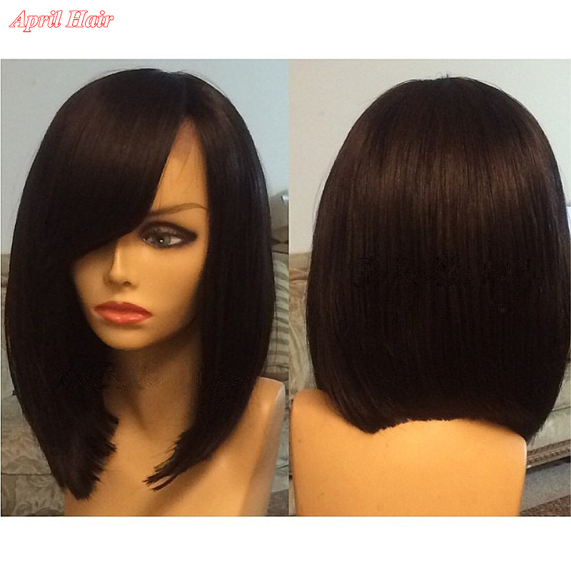 New Braided short bob silky straight side part with bangs glueless synthetic full lace front wigs