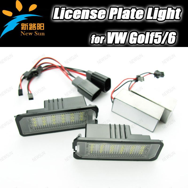 Auto Led License Plate lamp for Golf 5 Golf 6 super bright license plate car light with 2 decoders