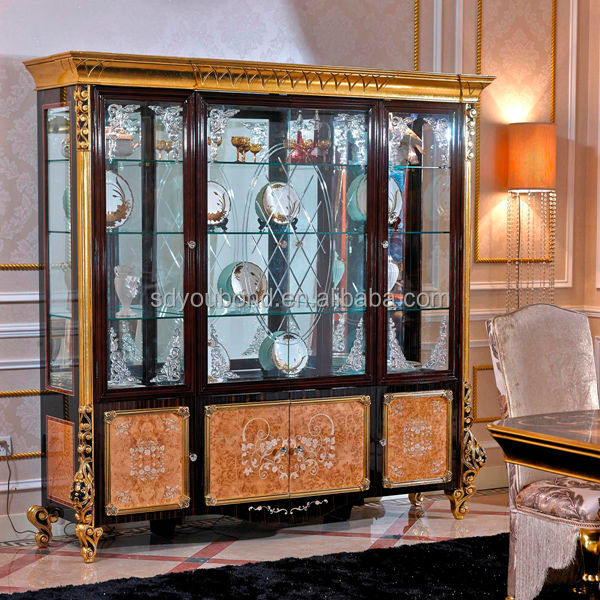 Elegant 0061High Quality Luxury Wooden Carvde Living Room Glass Showcase Design Part 8