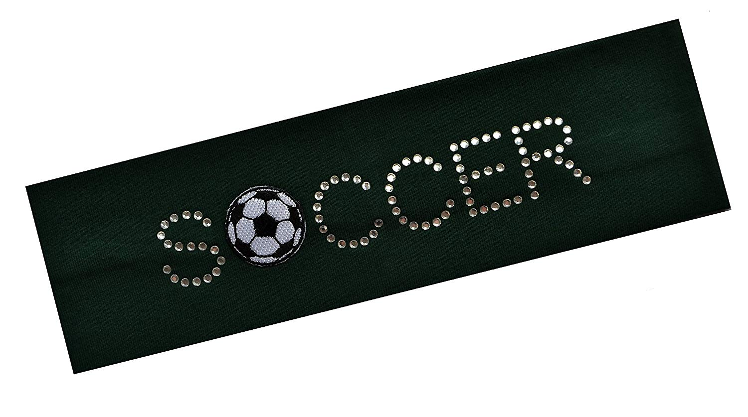 SOCCER BALL Rhinestone Cotton Stretch Headband for Girls, Teens and Adults Funny Girl Designs Soccer Team Gifts