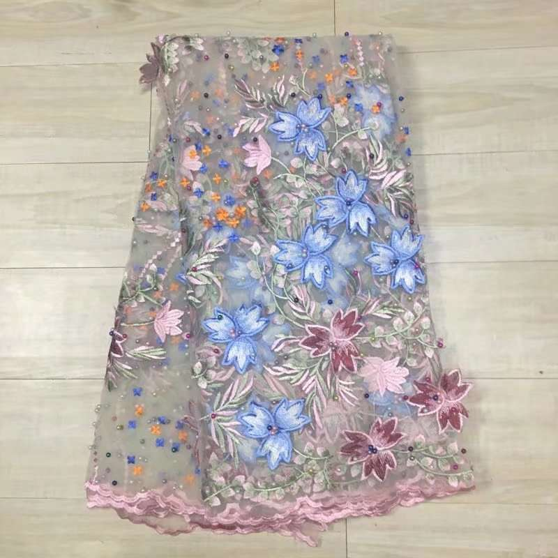 AL2156 African tulle lace 3D flower embroidery High quality fashion beads and stones french net lace fabric for wedding dress