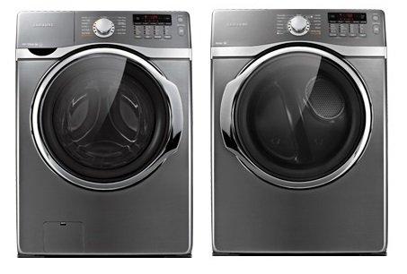 Samsung 3.9 Cu Ft Washer and 7.4 Cu Ft Dryer, Platinum