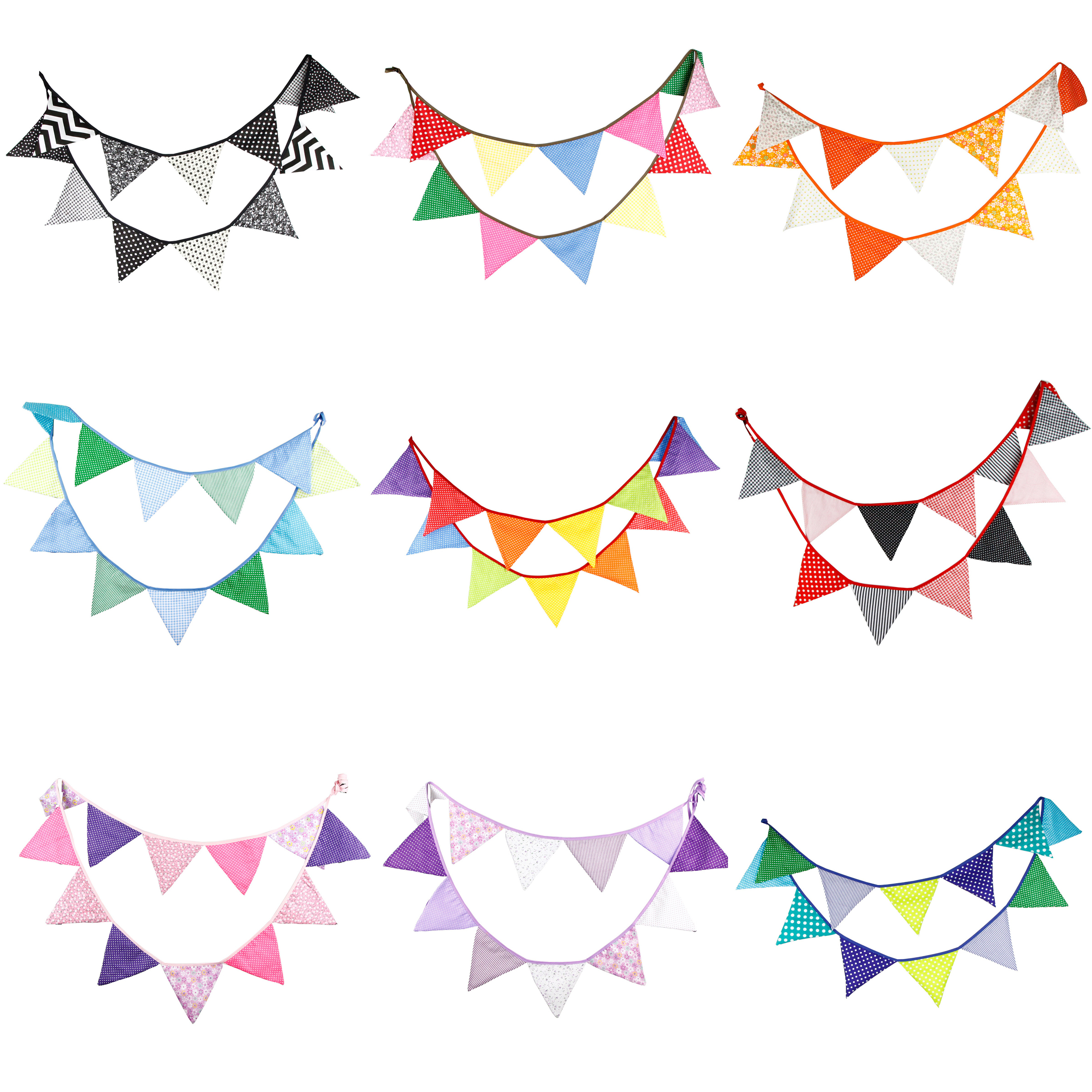 3.2m 12 Flags Handmade Cotton <strong>Cloth</strong> <strong>Banner</strong> Pennant Garland Children Kids Baby Shower Birthday Bunting Wedding Party Decoration