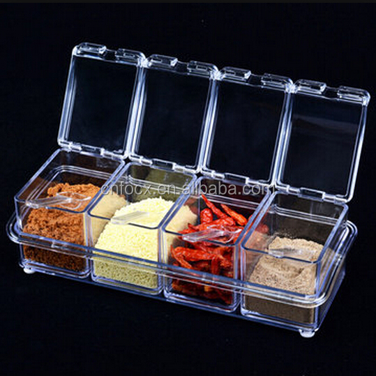 4pcs Transparent Seasoning Salt Jar Storage Box / Kitchen Spice Sugar Storage Box / Transparent Seasoning Jars