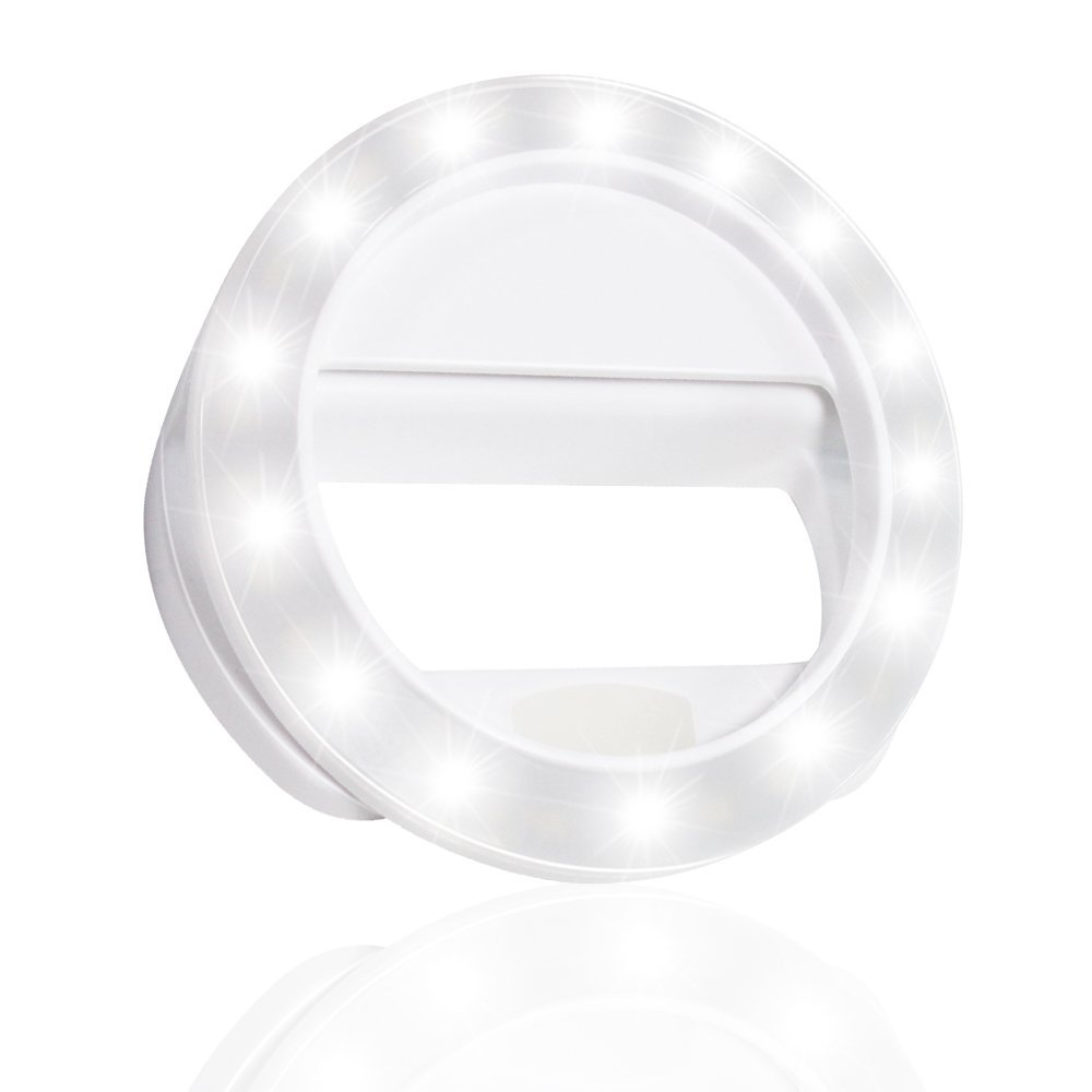 LS Photography LED Portable Mini Selfie Ring Light White for Smartphone, Camera Light, Dimmable, USB Charge Cable, Brightness Control, iPhone, iPad, Samsung Galaxy, LGG571