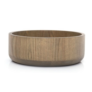 Europe popular wholesale round reusable vegetable ash wooden salad bowl with custom logo