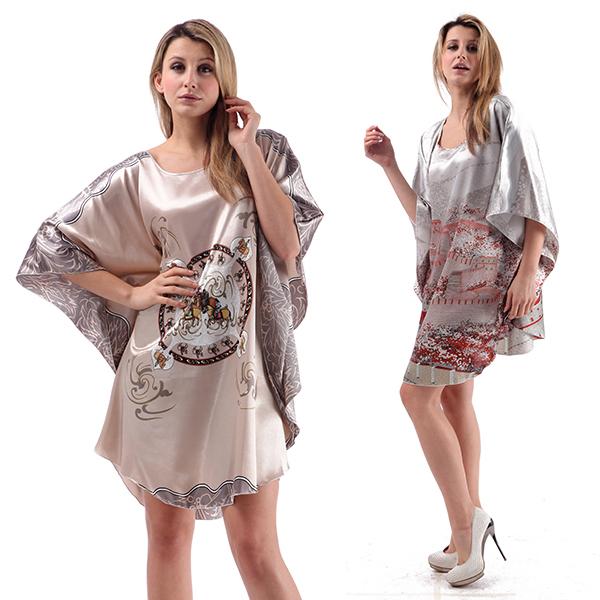 Buy Women Sleepwear Silk Blend Robe Wrap Dress Gown Bath Robes Dress ...