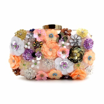 2017 New design Plastic flora evening clutch hand bag