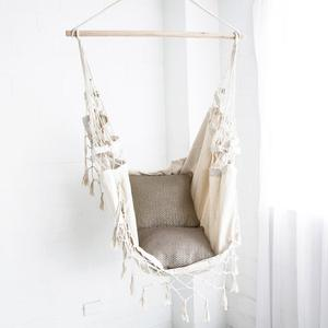 Outdoor Safety Cotton Rope Fabric hammock Chair with fringes