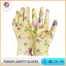 Hot sale 13 gauge printing polyester liner colored nitrile coated garden working gloves