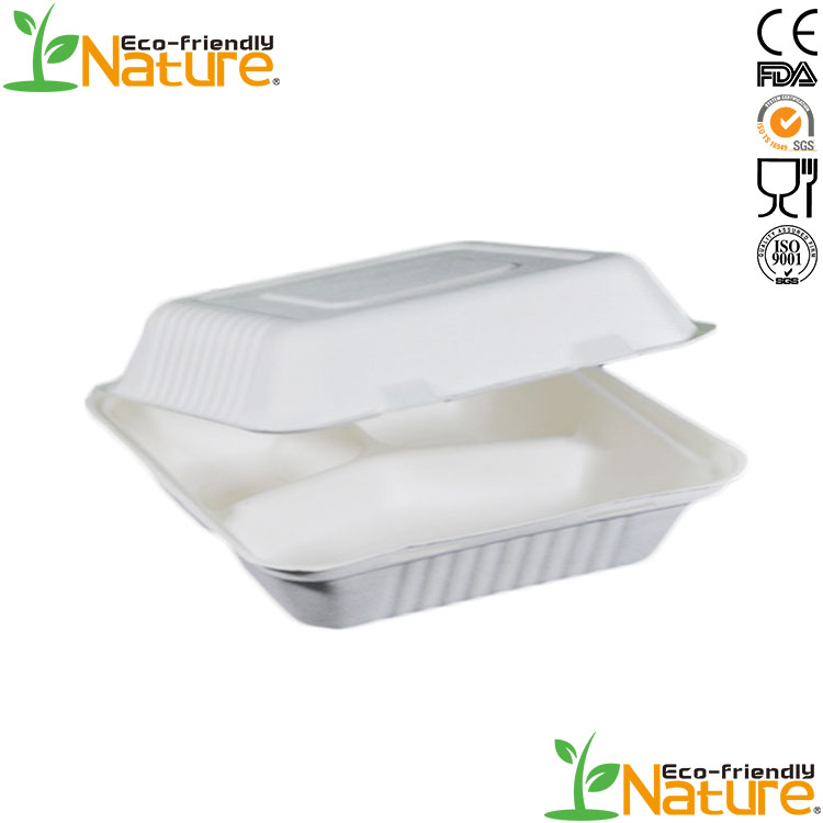 Wholesale <strong>Natural</strong> Water-proof 3-compartment Sugarcane Bagasse Food Container