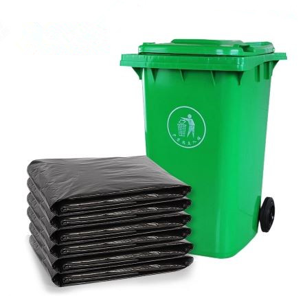 Black large trash bags translucent PE material garbage plastic bag for garbage bin/can liner