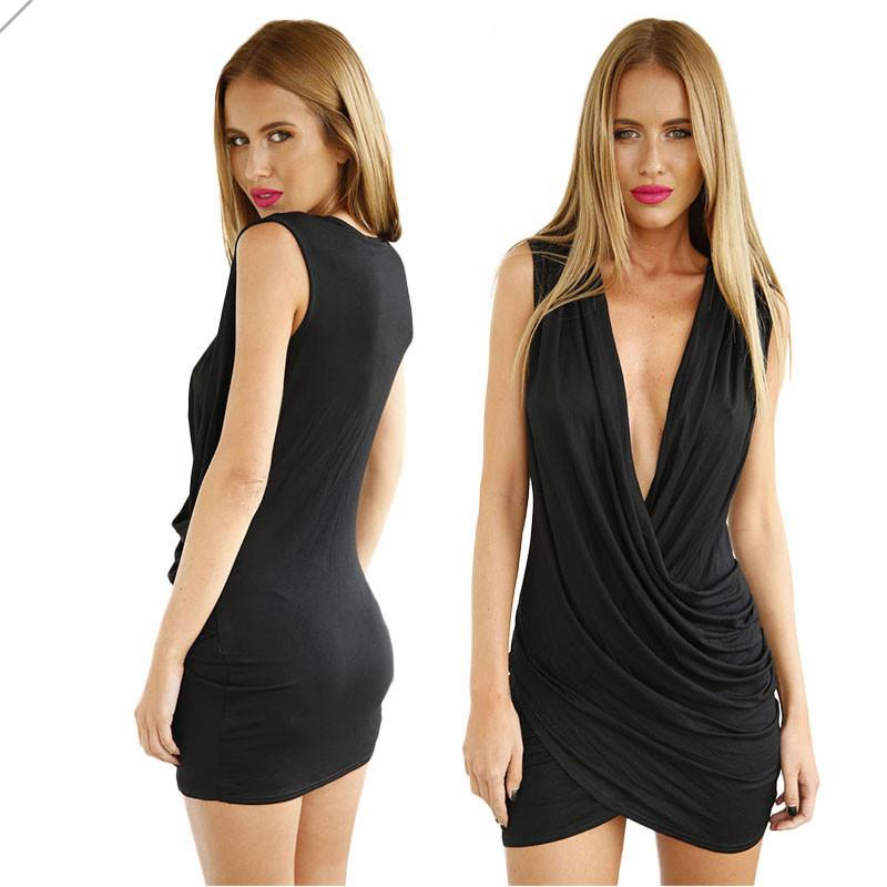 234f160c7b Fashion 2015 Deep V Neck Cross Pleat Modal Cotton Dress Black Bodycon Dress  Mini Summer