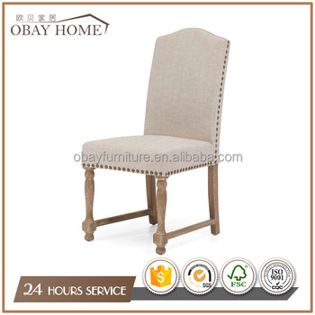American French Country Nature Linen Fabric Dining Chairs With High Quality Cheap Prices