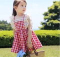 2016 summer 100 cotton elastic lace fly sleeve girl princess dress child cltohes kid s fresh