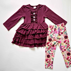 Boutique toddler girl's fall winter clothing set custom wholesale high quality baby girls ruffle design outfit