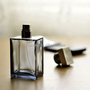 Hot sale 50ml clear flat square glass male perfume bottle with sprayer