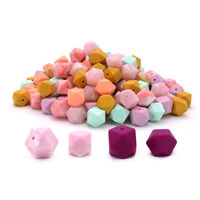 Wholesale Loose Bulk Baby Chew Hexagon BPA Free Food Grade Soft Silicone Teething Beads for Jewelry Making