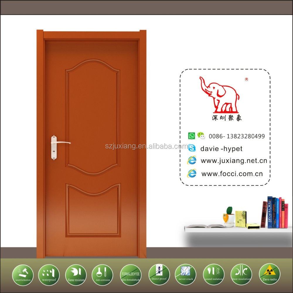 wooden style waterproof fire-resistant wpc painting high quality door