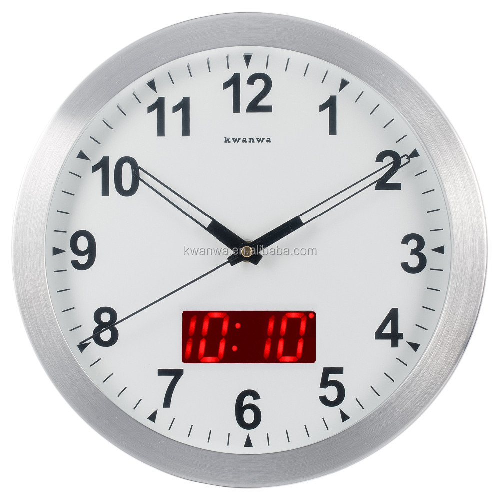 Kwanwa 12 metal frame quartz led digita wall clock battery kwanwa 12 metal frame quartz led digita wall clock battery operated only with non ticking amipublicfo Gallery