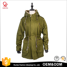 2017 new Korean winter coat women cotton faux fur hood army green long coat