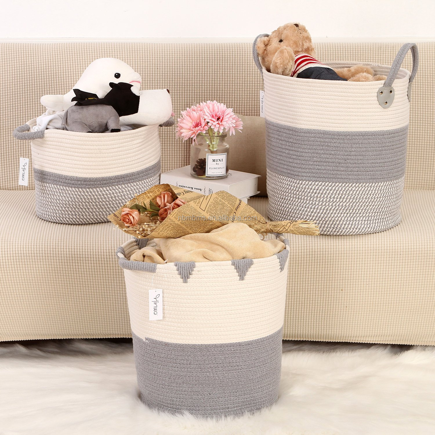 QJMAX Collapsible Laundry Cotton Rope Storage Basket Bin Container Organizer With Handles