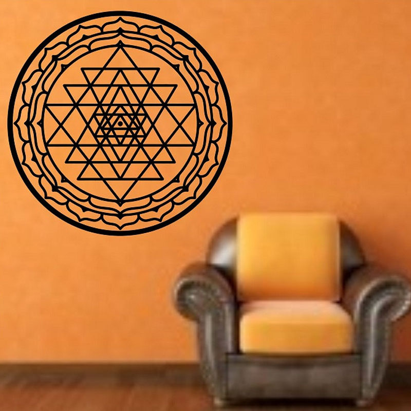 2016 Sri Yantra Wall Stickers Mandala Removable Vinyl Art Murals Home Decor Creative Wall Decals Circular Espejos Pared
