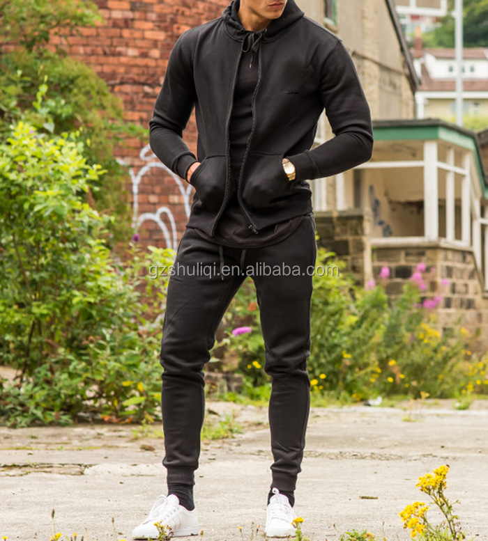 custom add fleece fitted tracksuit for men/wholesale men plain blank high quality tracksuits for men from China H-2512