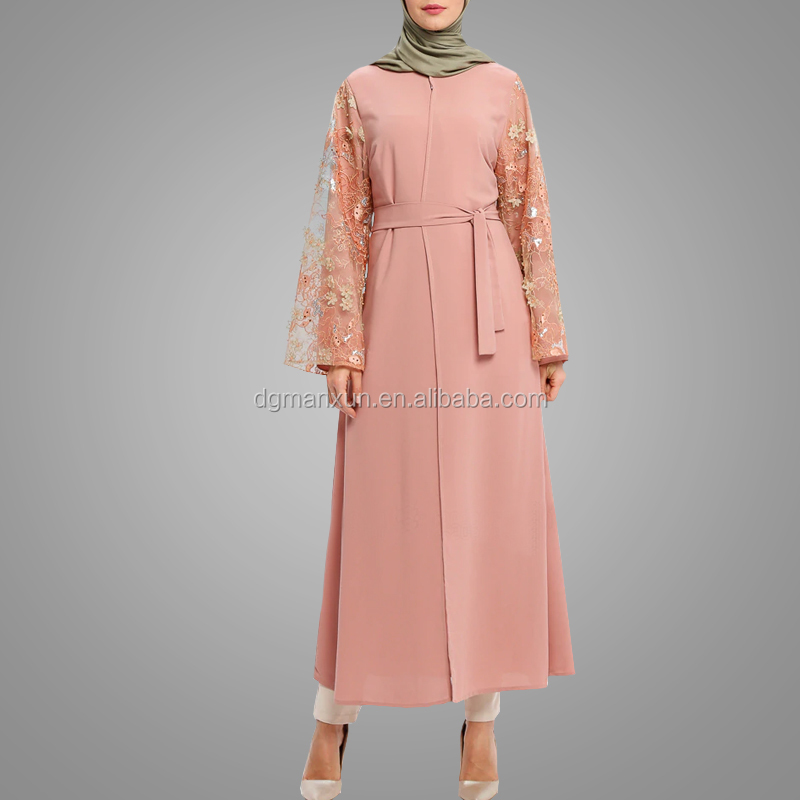 Latest Burka Design Islamic Clothing Nice Flower Sleeve Kimono Abaya Elegant Front Open Abaya In Dubai