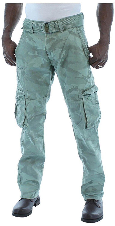 6f1cf3b403a7ad Get Quotations · Jordan Craig Men s Fashion Camo Heavy Twill Belted Cargo  Pants