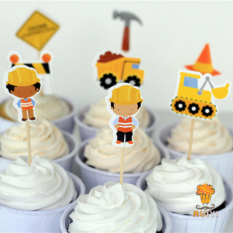 Construction Trucks Cake Toppers