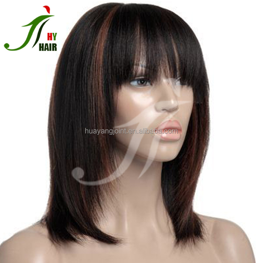 Glueless Highlight Full Lace Wig Bob Lace Front Wig Virgin Hair Layered Short Haircut Pictures Human Hair Bob Wig With Bangs