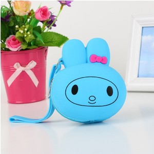 Lovely rabbit shape silicon coin purse clasp wallet cheap rubber coin purse with bowknot