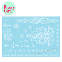 Temporary Sexy Lace Feathers Jewels Henna White Tattoo Sticker Waterproof LC019