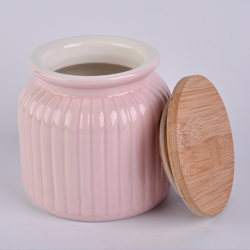 Pink ceramic candle jar with lids
