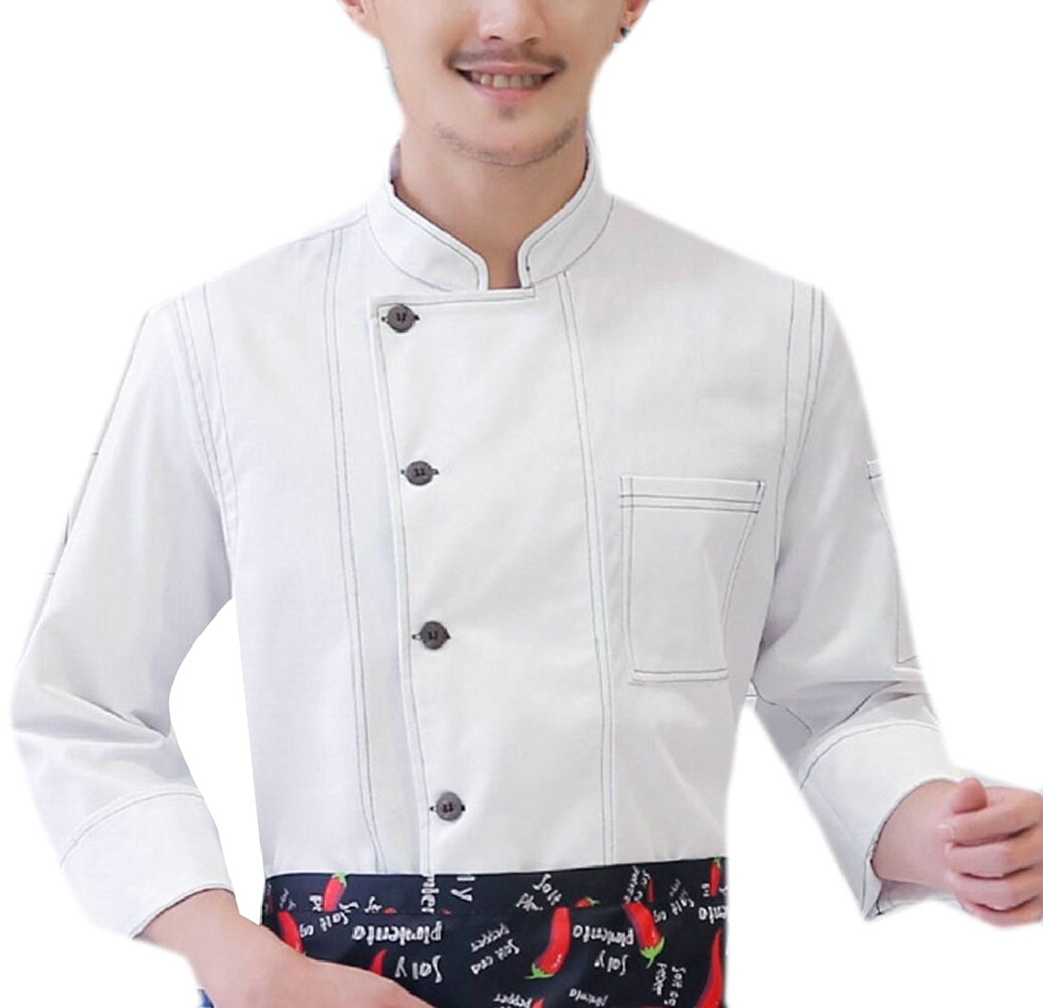 Yayu Men Fashion Denim Double Breasted Chefs Work Clothes Chefs Uniforms