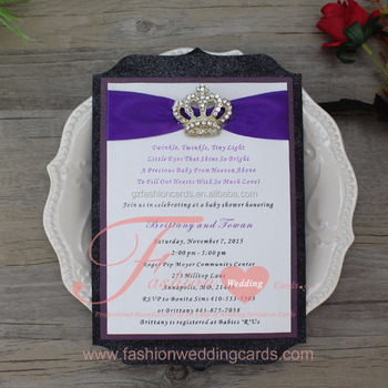 Latest Royal Die Cut Black And Purple Baby Naming Ceremony Invitation Cards  - Buy Baby Naming Ceremony Invitation Cards,Black Invitation Cards,Die Cut