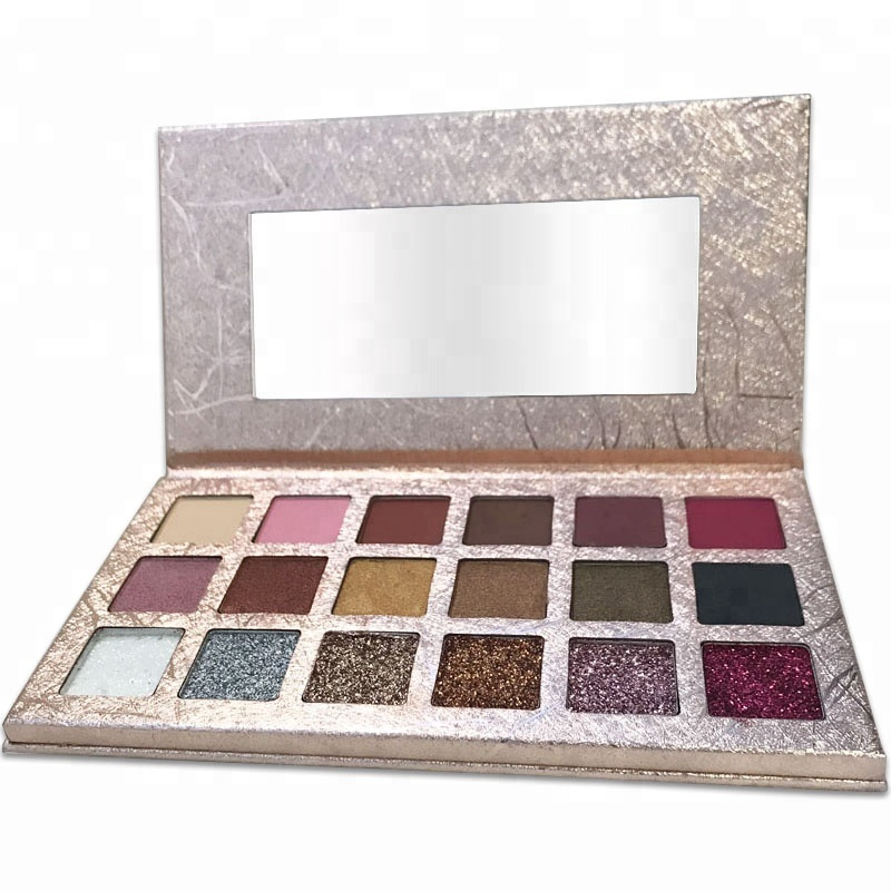 New 18 Color Custom Private Label Pressed Glitter Cardboard Makeup Eyeshadow Palette vegan <strong>Cosmetics</strong>